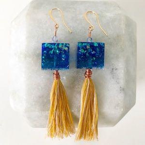Retro Handmade Resin Blue & Yellow Tassel Earrings